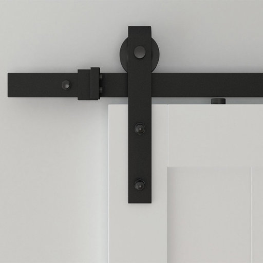 View a Larger Image of 6.6 Ft. Black Hook Strap Rolling Door Hardware Kit for Wood Door