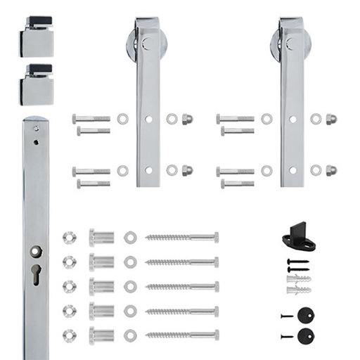 View a Larger Image of 6.6 Ft. Chrome Hook Strap Rolling Door Hardware Kit for Wood Door