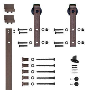 6.6 Ft. Oil Rubbed Bronze Hook Strap Rolling Door Hardware Kit for Wood Door