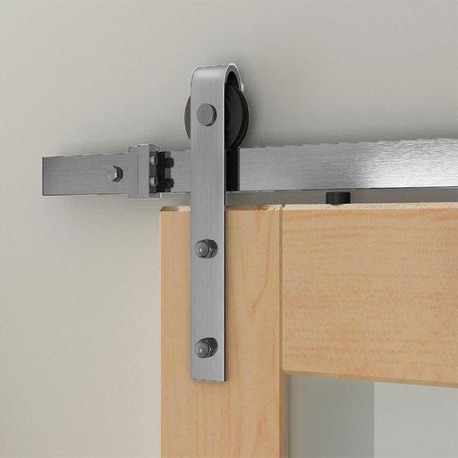 View a Larger Image of 6.6 Ft. Satin Nickel Hook Strap Rolling Door Hardware Kit for Wood Door