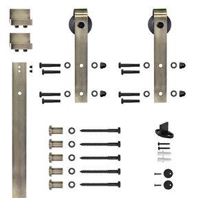 6.6 Ft. Soft-Close Antique Brass Hook Strap Rolling Door Hardware Kit for Wood Door