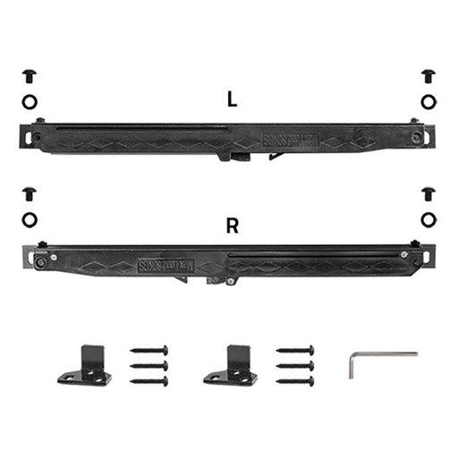 View a Larger Image of 6.6 Ft. Soft-Close Black Hook Strap Rolling Door Hardware Kit for Wood Door