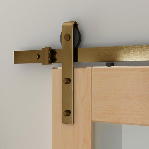 View a Larger Image of 6.6 Ft. Soft-Close Satin Brass PVD Hook Strap Rolling Door Hardware Kit for Wood Door