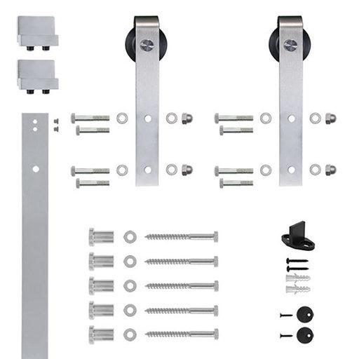 View a Larger Image of 6.6 Ft. Soft-Close Satin Nickel Hook Strap Rolling Door Hardware Kit for Wood Door