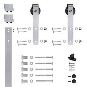 6.6 Ft. Soft-Close Satin Nickel Hook Strap Rolling Door Hardware Kit for Wood Door