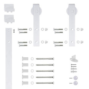 6.6 Ft. Soft-Close White Hook Strap Rolling Door Hardware Kit for Wood Door