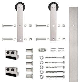 6.6 Ft. Stainless Steel Flat Rail Stick Strap Rolling Door Hardware Kit for Wood Door