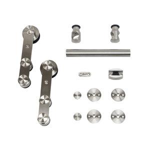 6.6 Ft. Stainless Steel Strap Rolling Door Hardware Kit for Wood or Glass Door