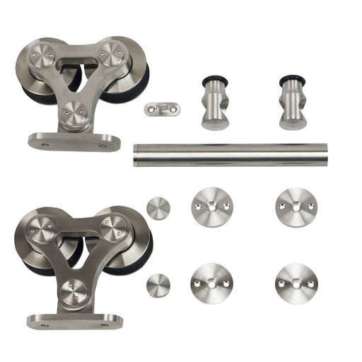 View a Larger Image of 6.6 Ft. Stainless Steel Top Mount Dual Wheel Rolling Door Hardware Kit for Wood Doors