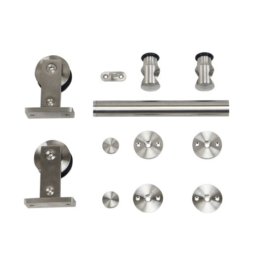 View a Larger Image of 6.6 Ft. Stainless Steel Top Mount Rolling Door Hardware kit for Wood Doors