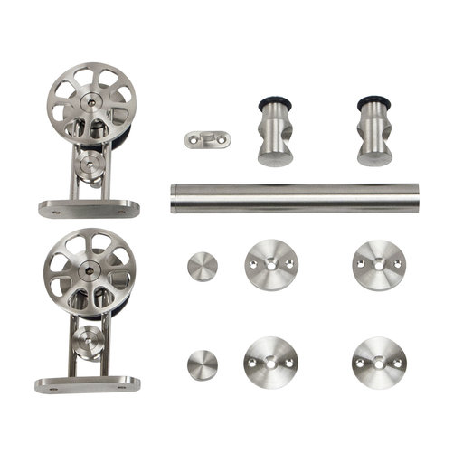 View a Larger Image of 6.6 Ft. Stainless Steel Top Mount Spoke Wheel Rolling Door Hardware Kit for Wood Doors