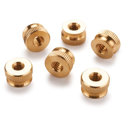 """View a Larger Image of 6-Piece 1/4"""" - 20TPI Brass Knurled Thumb Nut Knobs"""