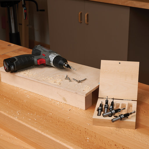 View a Larger Image of 6-Piece Carbide-Tipped Countersinks With Brad Point Drill Bits Set