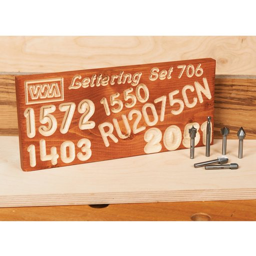"""View a Larger Image of 706 1/4"""" SH 6 Piece Signmaking CNC Router Bit Set"""