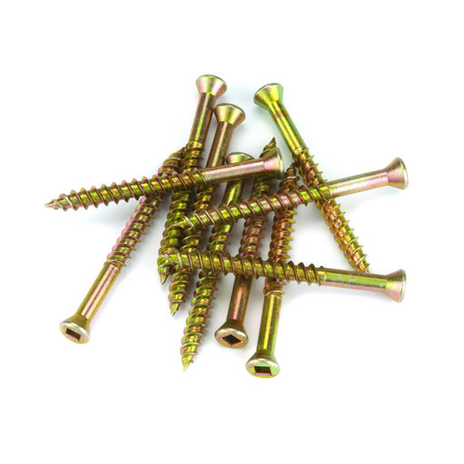 """View a Larger Image of 7 x 1"""" Square Drive Woodworking Screws Trim Head Yellow Zinc 100 pc"""