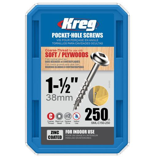 "View a Larger Image of Pocket Hole Screw - #8 x 1-1/2"" Coarse - Zinc - 250 Piece"
