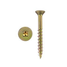 """8 x 1-3/4"""" XT Square Drive Woodworking Screws Flat Head Yellow Zinc 100 pc"""