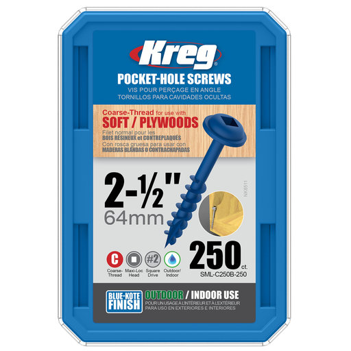 """View a Larger Image of 8 x 2-1/2"""" Coarse Pocket Hole Screw Blue-Kote 250 pc"""