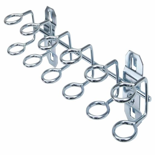 View a Larger Image of 9 In. W with 3/4 In. I.D. Zinc Plated Steel Multi-Ring Tool Holder for LocBoard, 2 Pack