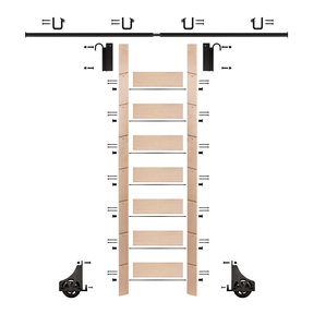 "92"" Clear Pre-Finished Maple Library Ladder Black Sliding Hook Ladder Kit w/8' Rail"