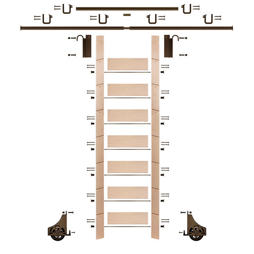"""View a Larger Image of 92"""" Clear Pre-Finished Maple Library Ladder Bronze Sliding Hook Ladder Kit w/12' Rail"""