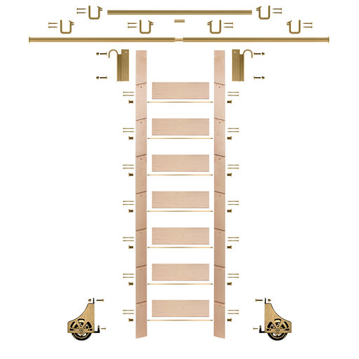 """View a Larger Image of 92"""" Clear Pre-Finished Maple Library Ladder Polished Brass Sliding Hook Ladder Kit w/12' Rail"""