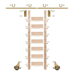 "92"" Clear Pre-Finished Maple Library Ladder Polished Brass Sliding Hook Ladder Kit w/8' Rail"