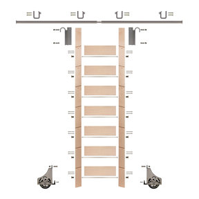 """92"""" Clear Pre-Finished Maple Library Ladder Satin Nickel Sliding Hook Ladder Kit w/8' Rail"""