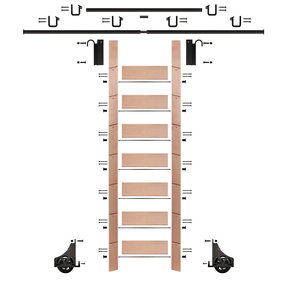 "92"" Clear Pre-Finished Red Oak Library Ladder Black Sliding Hook Ladder Kit w/12' Rail"