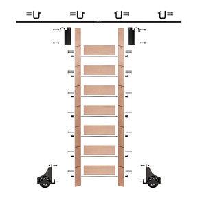 "92"" Clear Pre-Finished Red Oak Library Ladder Black Sliding Hook Ladder Kit w/8' Rail"