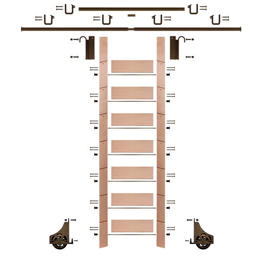 """View a Larger Image of 92"""" Clear Pre-Finished Red Oak Library Ladder Bronze Sliding Hook Ladder Kit w/12' Rail"""