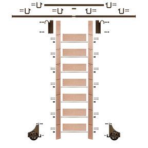 "92"" Clear Pre-Finished Red Oak Library Ladder Bronze Sliding Hook Ladder Kit w/12' Rail"