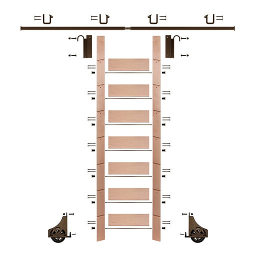 """View a Larger Image of 92"""" Clear Pre-Finished Red Oak Library Ladder Bronze Sliding Hook Ladder Kit w/8' Rail"""
