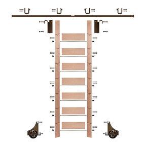 "92"" Clear Pre-Finished Red Oak Library Ladder Bronze Sliding Hook Ladder Kit w/8' Rail"