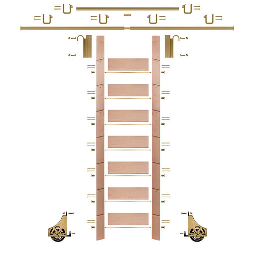 """View a Larger Image of 92"""" Clear Pre-Finished Red Oak Library Ladder Polished Brass Sliding Hook Ladder Kit w/12' Rail"""