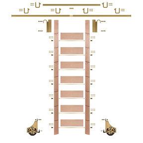 "92"" Clear Pre-Finished Red Oak Library Ladder Polished Brass Sliding Hook Ladder Kit w/12' Rail"