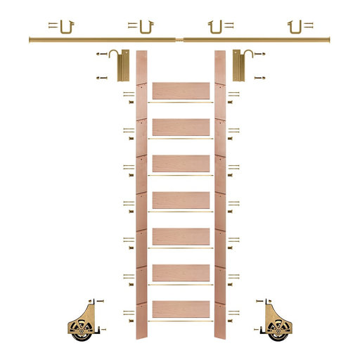 """View a Larger Image of 92"""" Clear Pre-Finished Red Oak Library Ladder Polished Brass Sliding Hook Ladder Kit w/8' Rail"""