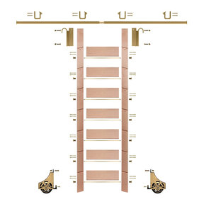 "92"" Clear Pre-Finished Red Oak Library Ladder Polished Brass Sliding Hook Ladder Kit w/8' Rail"