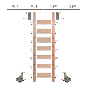 "92"" Clear Pre-Finished Red Oak Library Ladder Satin Nickel Sliding Hook Ladder Kit w/8' Rail"