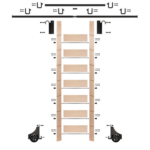 """View a Larger Image of 92"""" Un-Finished Maple Library Ladder Black Sliding Hook Ladder Kit w/12' Rail"""