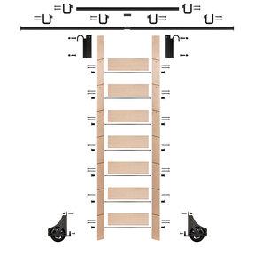 "92"" Un-Finished Maple Library Ladder Black Sliding Hook Ladder Kit w/12' Rail"