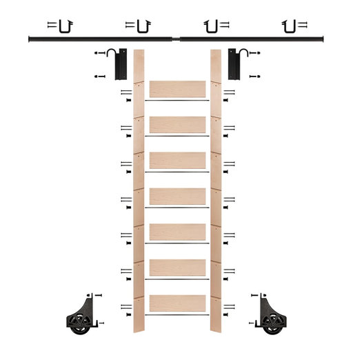 """View a Larger Image of 92"""" Un-Finished Maple Library Ladder Black Sliding Hook Ladder Kit w/8' Rail"""
