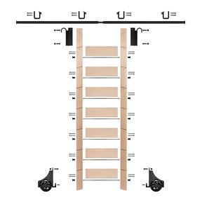 "92"" Un-Finished Maple Library Ladder Black Sliding Hook Ladder Kit w/8' Rail"