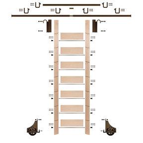 "92"" Un-Finished Maple Library Ladder Bronze Sliding Hook Ladder Kit w/12' Rail"