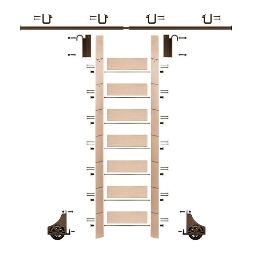 """View a Larger Image of 92"""" Un-Finished Maple Library Ladder Bronze Sliding Hook Ladder Kit w/8' Rail"""