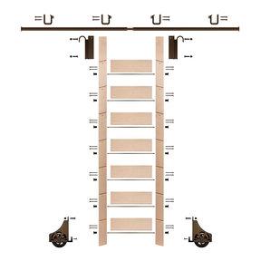 "92"" Un-Finished Maple Library Ladder Bronze Sliding Hook Ladder Kit w/8' Rail"