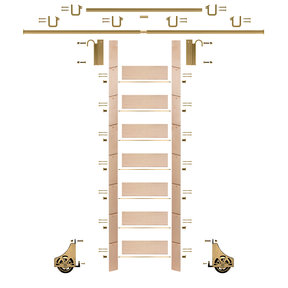 "92"" Un-Finished Maple Library Ladder Polished Brass Sliding Hook Ladder Kit w/12' Rail"