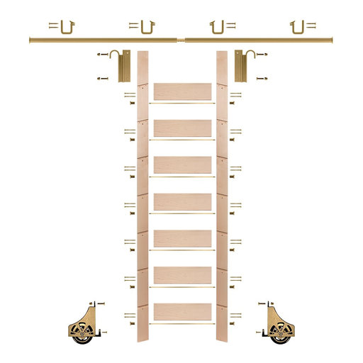 """View a Larger Image of 92"""" Un-Finished Maple Library Ladder Polished Brass Sliding Hook Ladder Kit w/8' Rail"""