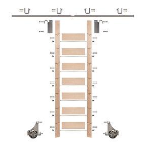 "92"" Un-Finished Maple Library Ladder Satin Nickel Sliding Hook Ladder Kit w/8' Rail"
