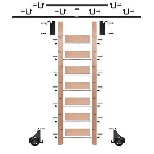 "View a Larger Image of 92"" Un-Finished Red Oak Library Ladder Black Sliding Hook Ladder Kit w/12' Rail"